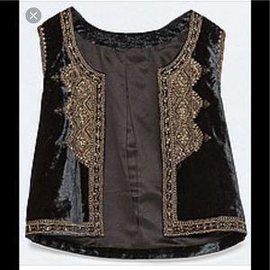 NWT! Zara Black Embroidered Velvet Vest Size M